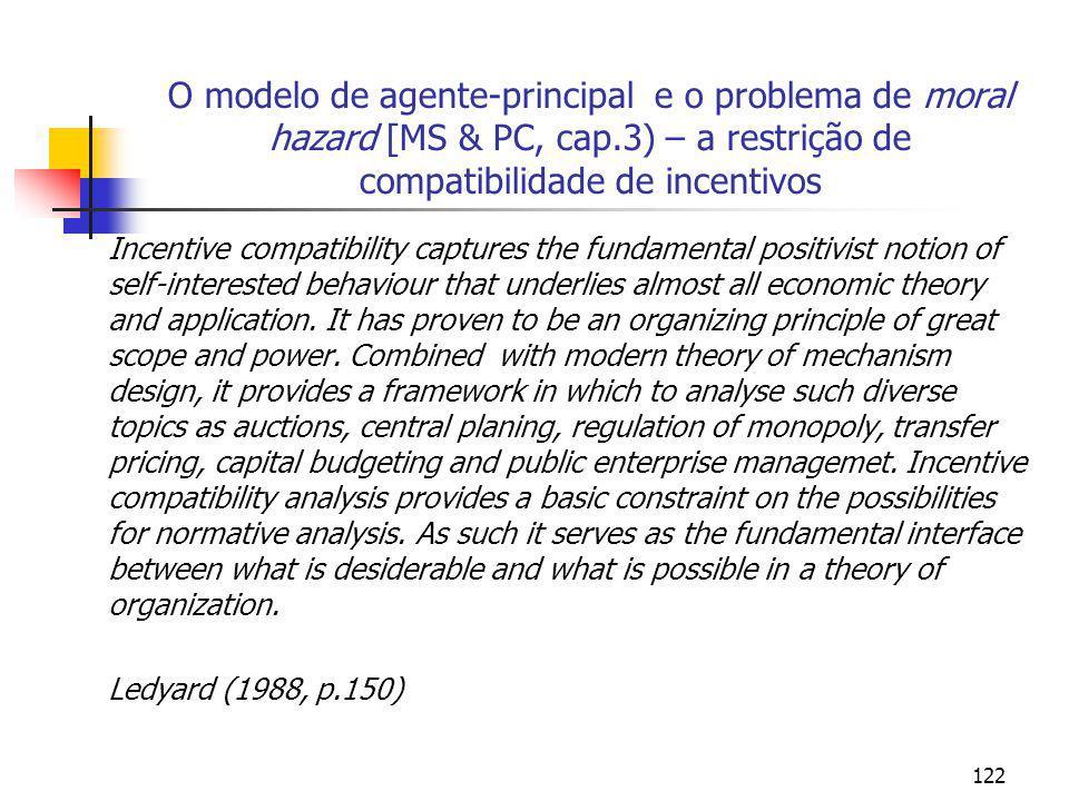 O modelo de agente-principal e o problema de moral hazard [MS & PC, cap.3) – a restrição de compatibilidade de incentivos